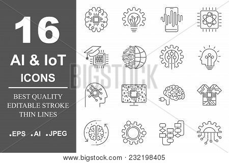 Ai And Iot. Artificial Intelligence Icons Set. Editable Stroke