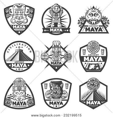 Vintage Monochrome Maya Labels Set With Tribal Masks Ceremonial Idols Calendar Pyramid Coins Vase Ma