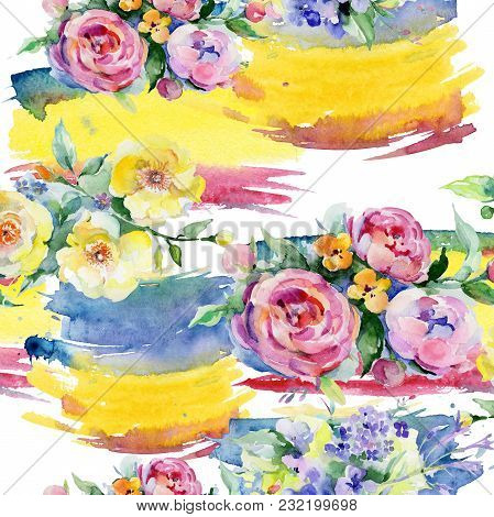 Bouquet Flower Pattern In A Watercolor Style. Full Name Of The Plant: Rose, Rosa. Aquarelle Wild Flo