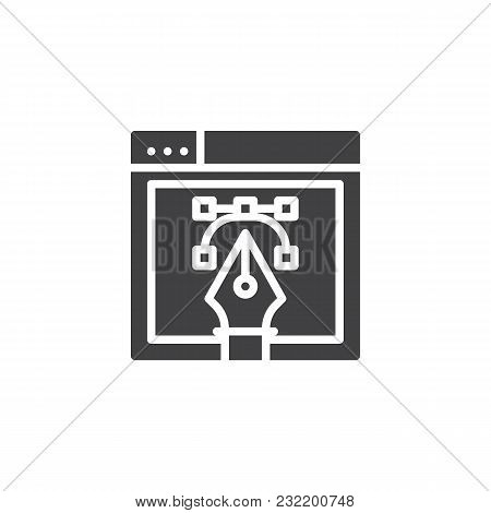 Web Design With Fountain Pen Nib Vector Icon. Filled Flat Sign For Mobile Concept And Web Design. Br