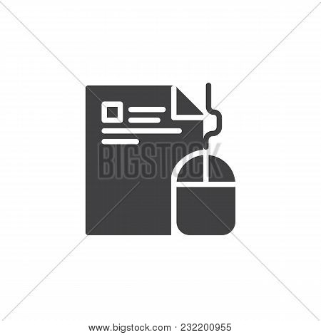 Computer Mouse And Paper Document Vector Icon. Filled Flat Sign For Mobile Concept And Web Design. E