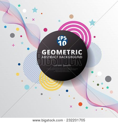 Abstract Colorful Color Circle Geometric Pattern Design And Background. Use For Modern Design, Cover