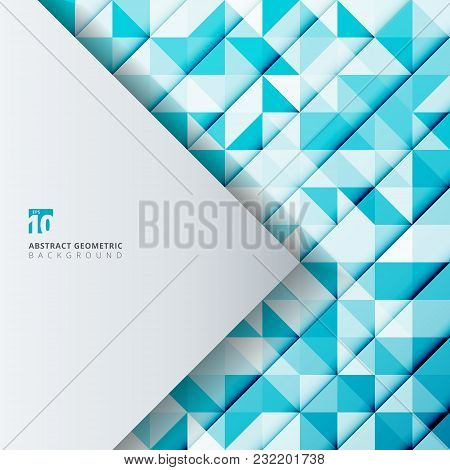 Abstract Geometric Pattern Blue Color Triangles With White Triangle Tab For Copy Space. Vector Illus