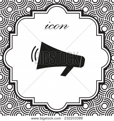 Vector Icon Loudspeaker On A Geometric Background Of Eps