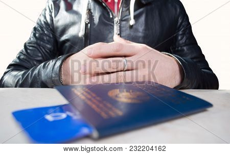 Ruka Stretches Her Passport With A Ticket, On A White Background, The Man Without A Face Is Check In
