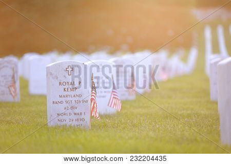 Washington DC / United States - May 25 2014: National flags ant headstones in Arlington National cemetery during Memorial Weekend in 2014.