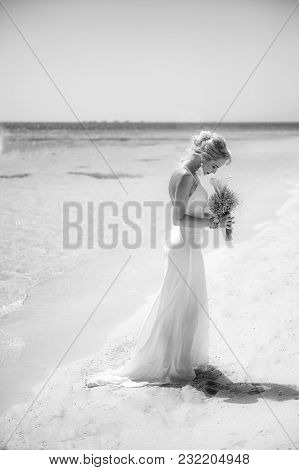 Beautiful Bride On A Tropical Beach Wedding Day