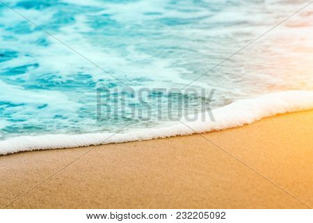 Sea Shore. Wave With Foam. Sand On The Shore. Beach. Summer Rest. Calm On The Sea. Resort. Tropics.