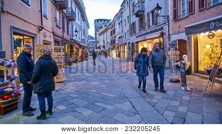 Aosta, Italy - March 6, 2018: Street In The Historic Part Of The City On 6 March 2018 In Aosta, Ital