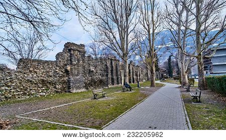 Aosta, Italy - March 9, 2018: Street In The Historic Part Of The City On 9 March 2018 In Aosta, Ital