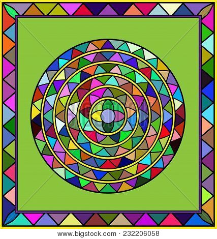 Abstract Colored Image Of Circle Consisting Of Lines And Figures With Frame