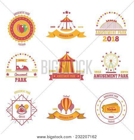 Amusement Park Colourful Emblems Set Of Nine Flat Compositions With Pavilion Aerostat And Fairground