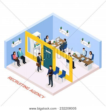 Recruitment Agency For Permanent Job Part Time Work Seekers Isometric Composition With Staff Intervi