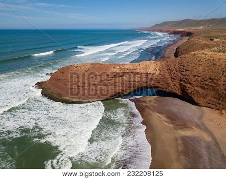 Aerial view on Legzira beach with arched rocks on the Atlantic coast in Morocco