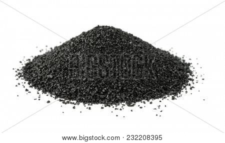 Pile of crushed anthracite isolated on white