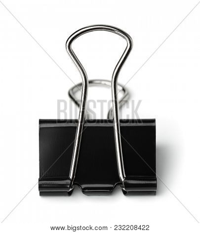 Single metal binder clip isolated on white