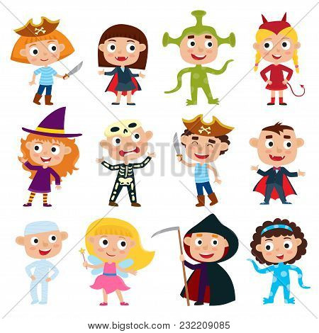 Vector Set Of Cute Cartoon Children In Colorful Halloween Costumes - Pirate, Devil, Witch, Alien, Va