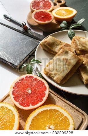 Apple Pie, Oranges And Notebook With Pen