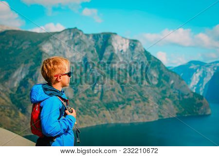 Little Boy Travel In Mountains, Looking At Nature, Family Vacation