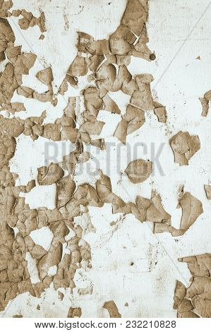 Peeling Paint On The Wall. Abstract Background. Toned