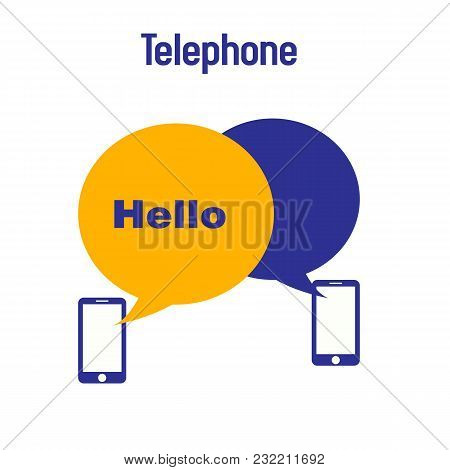 Telephone Hello Phone Receiver White Background Vector Image
