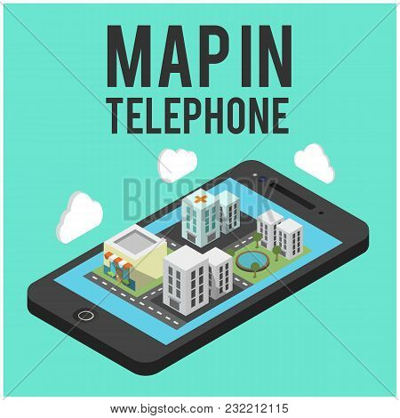 Map In Telephone Mobile Background Vector Image