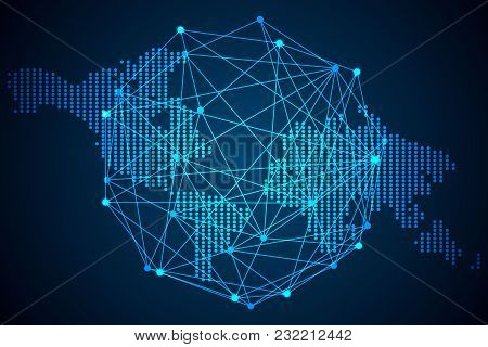 Abstract Technology Concept Global Network Connection Futuristic Earth Globe Virtual Hologram Commun