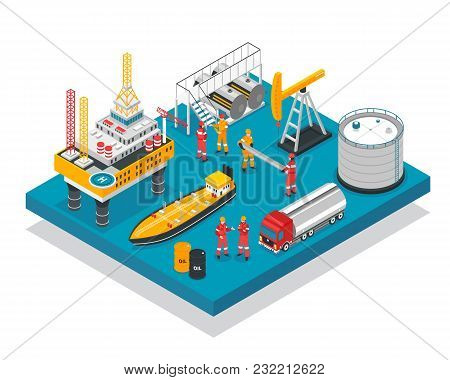 Oil Gas Industry Jack-up Drilling Rig Offshore Platform Facility Isometric Composition With Tanker V