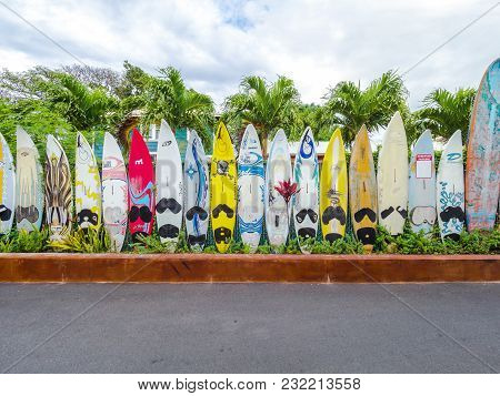 Maui, -17 April 2017- Editorial: Colorful Surfboards Are Lined Up In The Streets Of Maui.