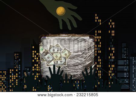 Many Hands Taking Euro And Dollar Money In A Dark City Background.