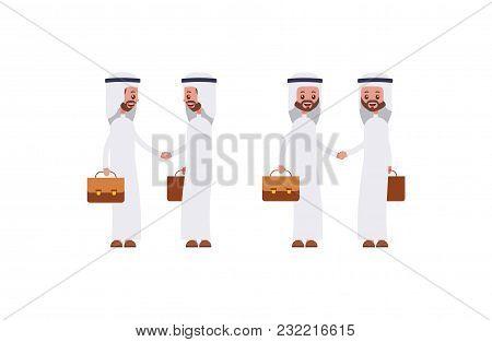 Handshakes In A Suit And Shirt. Arab Saudi Businessman. Cartoon Character Set