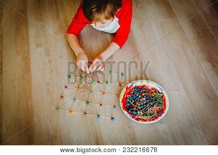 Child Making Geometric Shapes From Clay And Sticks, Engineering And Stem Education