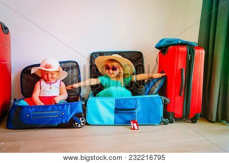 Cute Little Girls Enjoy Packing And Travel, Family Going On Vacation