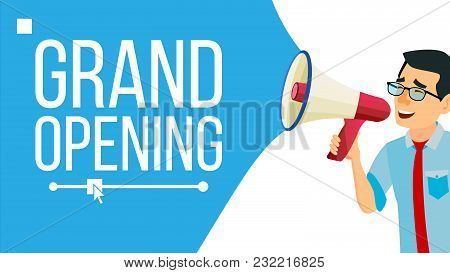 Businessman Announce Concept Vector. Banner Design. Man With Loudspeaker. Announcement Poster. Promo