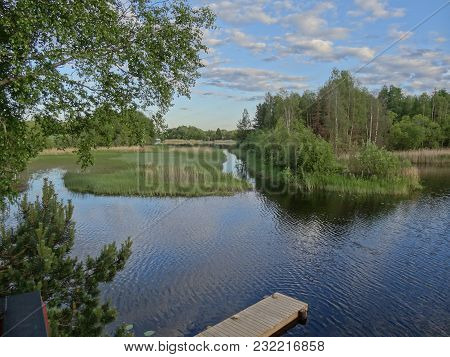 Beautiful Fishing Lake In Norway Natural Landscape In Summer
