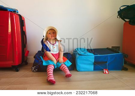 Little Girl On Packed Suitcases Ready To Travel, Family Going On Vacation