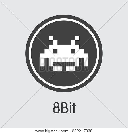8bit Vector Trading Sign For Internet Money. Crypto Currency Element Of 8bit And Graphic Symbol For