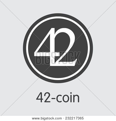 42-coin - Crypto Currency Coin Pictogram. Vector Icon Of Blockchain Cryptocurrency Icon On Grey Back