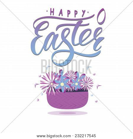 Vector Lettering Of  Text Happy Easter With Small Decor Of Shape Of Egg. Modern Calligraphy. As Temp