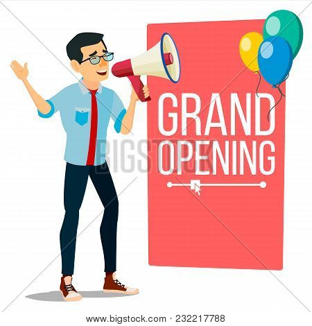 Businessman Announce Concept Vector. Screaming Announcement Banner Design. Man With Megaphone. Grand