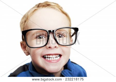 Young Boy With Big Glasses On A White Background.