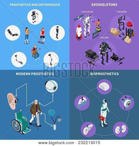 Exoskeleton Bionic Prosthetics Concept Icons Set With Orthopedics Symbols Isometric Isolated Vector