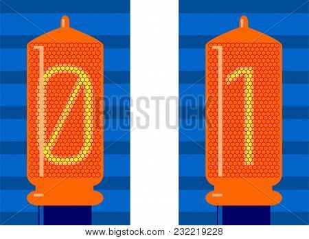 Analogue - Digital, Lamps, Binary Code. Yes And No, One (1)  And Zero (0) In Electronic Retro Lamps