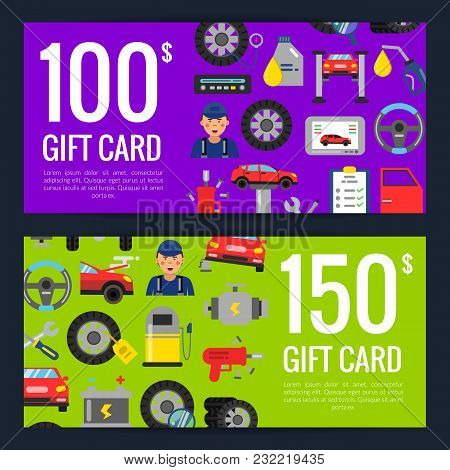 Vector Gift Voucher Or Discount Card Template With Flat Style Car Service Elements And Part For Auto