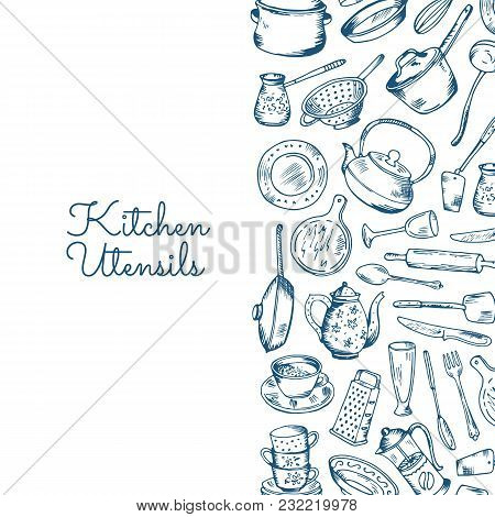 Vector Banner Background With Kitchen Utensils With Place For Text Illustration