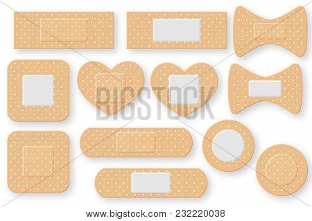 Set Of Realistic First Aid Band Plaster Strip. Elastic Bandage Patch. Vector Illustration Isolated O