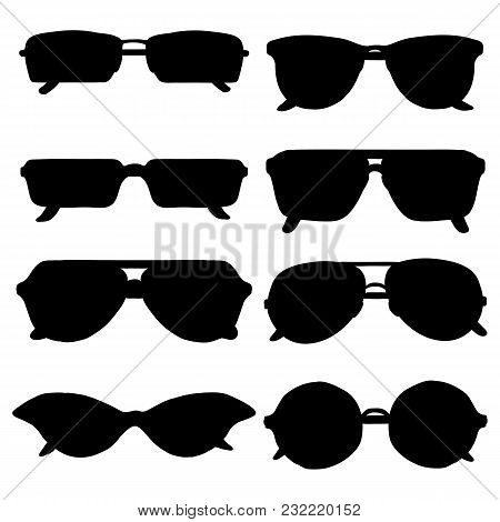 Vector Set Of Black Sunglasses Silhouettes On White Background