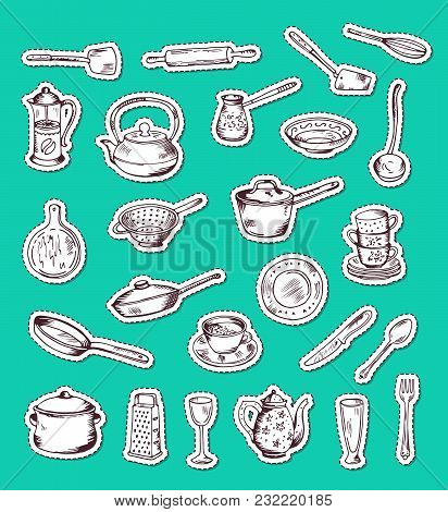 Vector Stickers Set With Hand Drawn Kitchen Utensils Isolated In Green Illustration