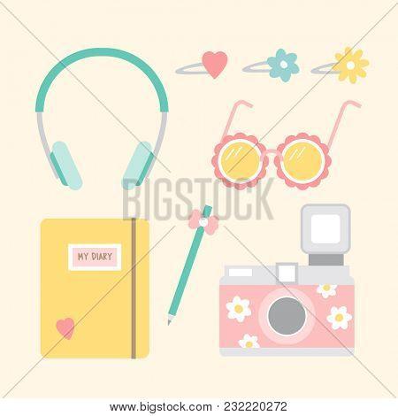 Set of holiday stuffs icon