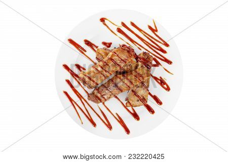 Ribs Meat Grill, Barbecue, Beef, Lamb, Barbecue Sauce, Tomato, Spicy On A Plate Isolated White Backg